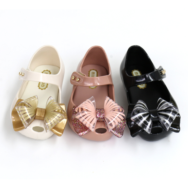 Toddler Girls Tansparent Bow Soft Comfortable Flat Jelly Shoes