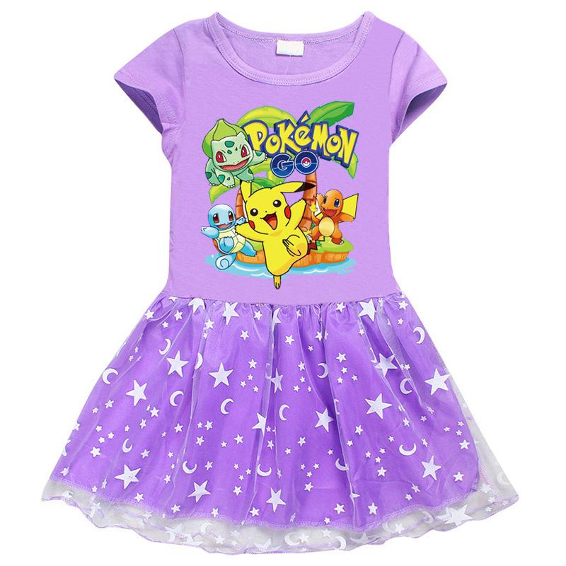 Toddler Girl Pikachu Short Sleeve Princess Dress