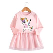 Toddler Girl Rainbow Unicorn Princess A-line Long-Sleeved Mesh Dress