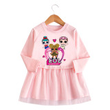 Toddler Girl Three Little Girls Princess A-line Long-Sleeved Mesh Dress