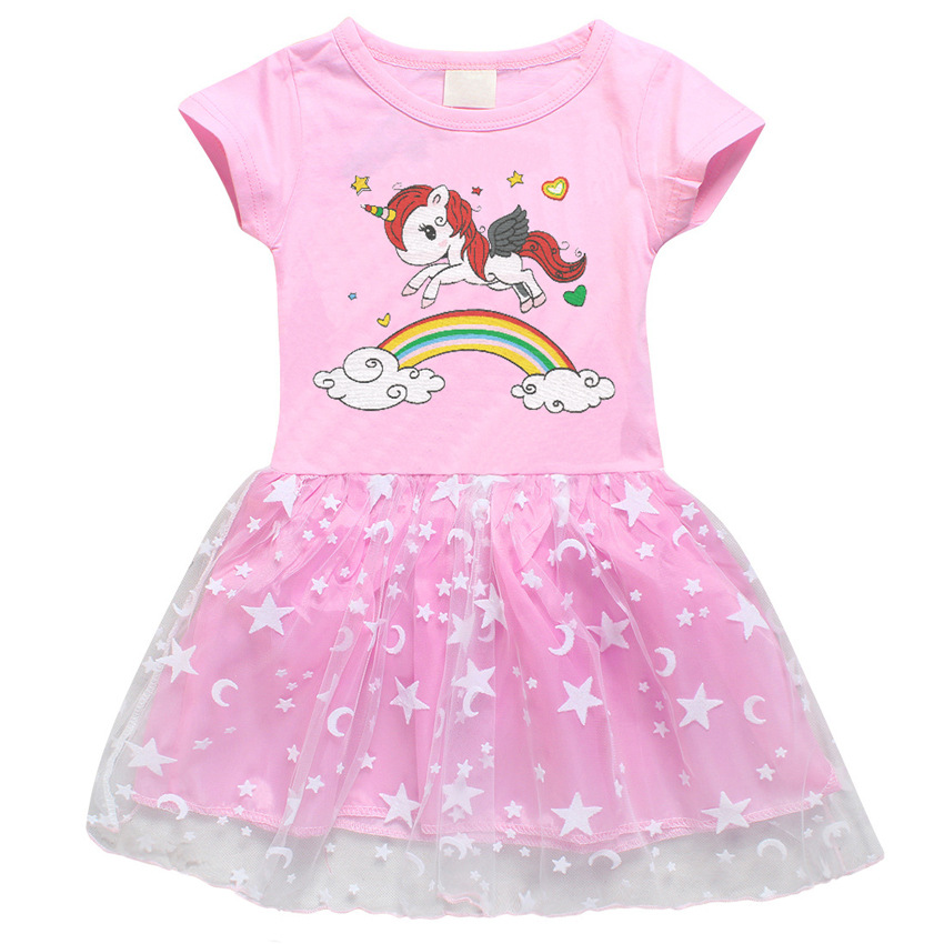 Toddler Girl Rainbow Horse Short Sleeve Princess Dress