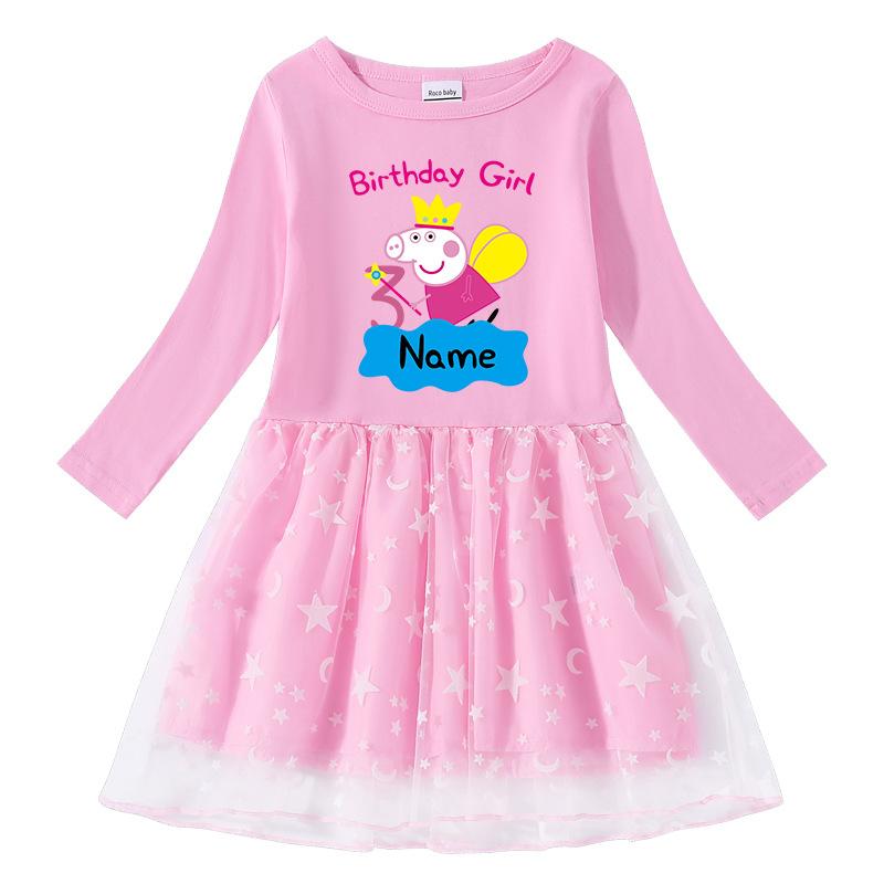 Toddler Girl Crown Peppa Pig Long Sleeve Princess Dress