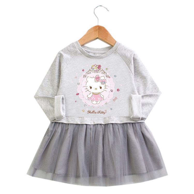 Toddler Girl Cute Hello Kitty Princess A-line Long-Sleeved Mesh Dress