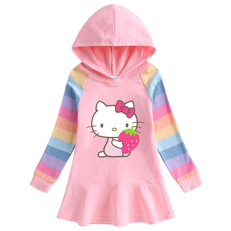 Toddler Girl Strawberry Hello Kitty Princess Hoodie Hoodie Cartoon Dress
