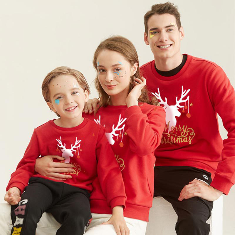 Christmas Matching Family Deer Gold Merry Christmas Letters Christmas Family Sweatshirt Tops