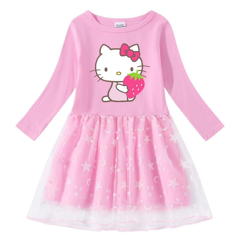 Toddler Girl Strawberry Hello Kitty Printed Mesh Long Sleeve Tutu Dress