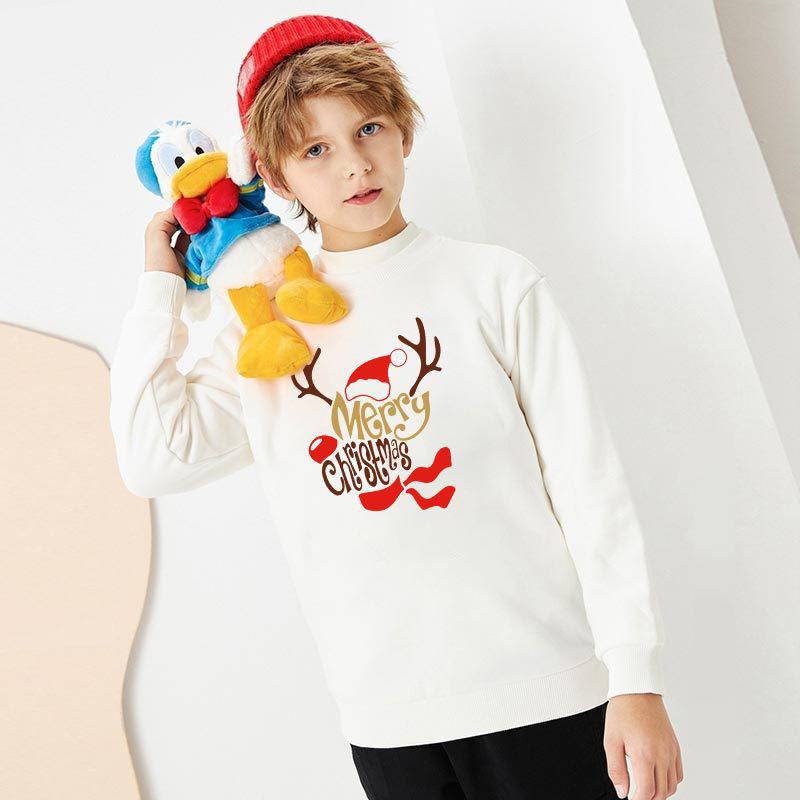 Christmas Matching Kids Christmas Deer Slogan Sweatshirt Tops
