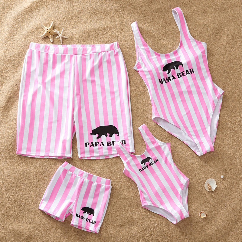 Matching Family Suit Stripe Printing Family Parent-Child Beach Swimsuit