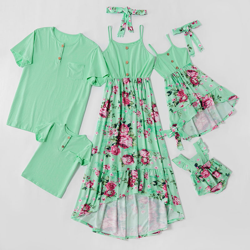 Matching Family Suit Flowers Mom Girl Slip Green Dress And Dad T-Shirt