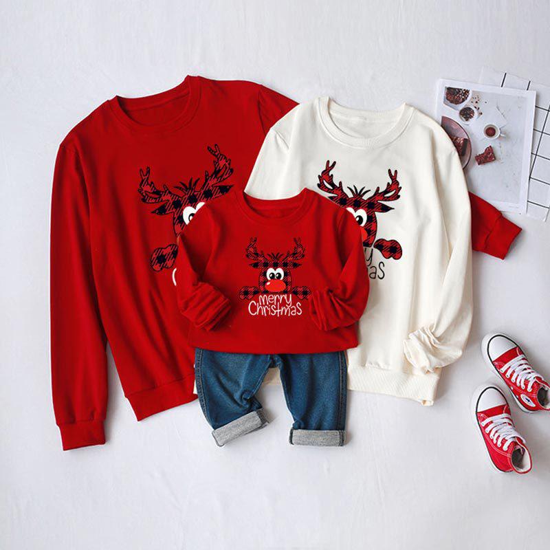 Christmas Matching Family Cute Plaids Deer Slogans Christmas Sweatshirt Tops