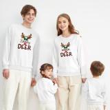 Christmas Matching Family Christmas Neon Lamp Deer Horn Slogan Christmas Family Sweatshirt Tops