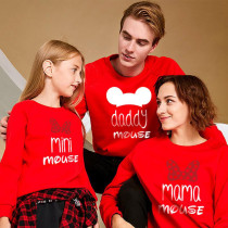 Matching Family Dad Mickey And Mom Minnie Letters Family Sweatshirt Tops