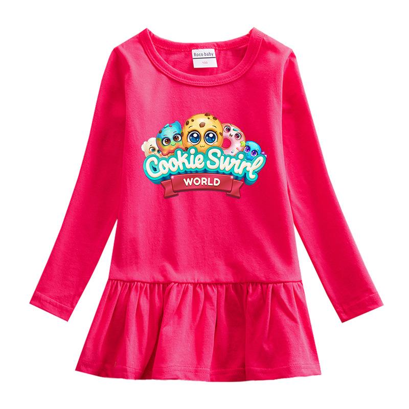 Toddler Girl Cookies Print Pleated Long Sleeve Dress