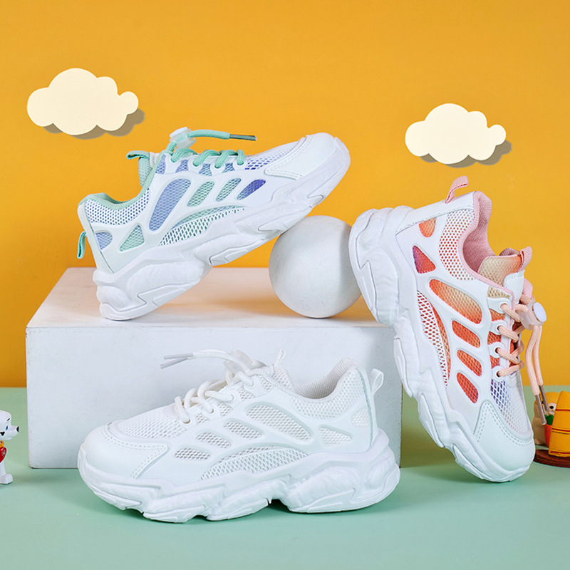 Toddler Kids Ombre Color Mesh Breathable Sports Sneakers Shoes