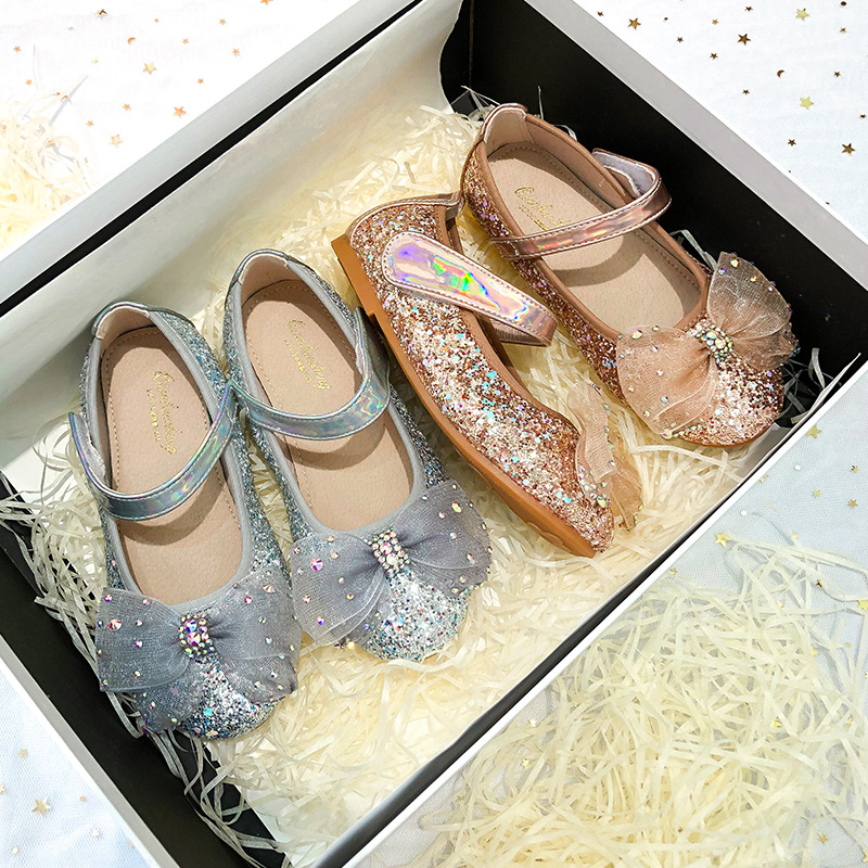 Toddler Girl Sequins Jewelry Mesh Bowknot Flat Girl Dress Shoes
