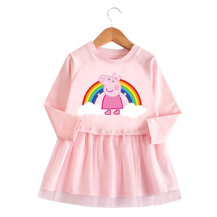 Toddler Girl Rainbow Page Princess A-line Long-Sleeved Mesh Dress