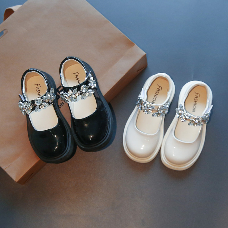 Toddler Girl Crystal Jewelry PU Leather Flat Dress Shoes