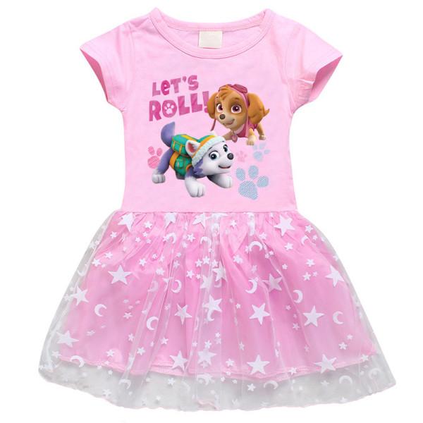 Toddler Girl PAW Mesh Lace Short Sleeve Tutu Dress