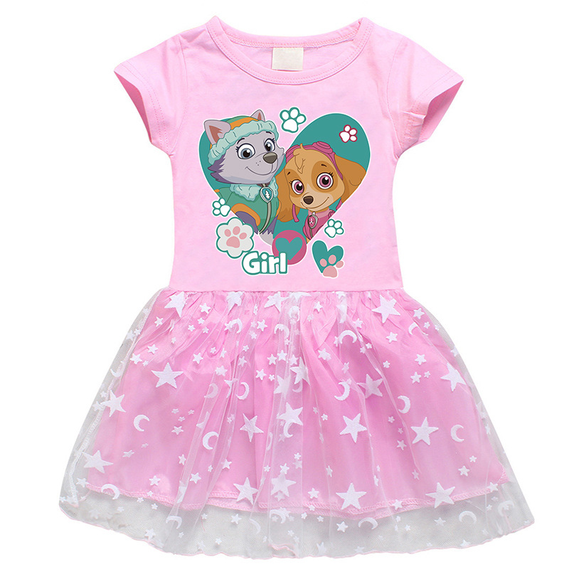 Toddler Girl PAW Puppy Mesh Lace Short Sleeve Tutu Dress