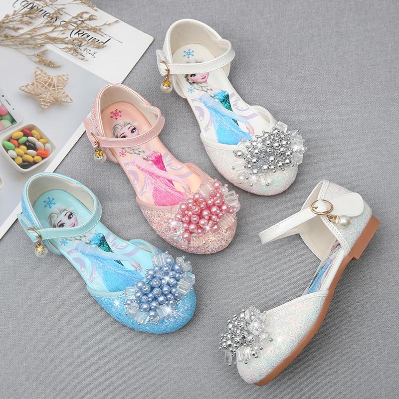 Toddler Girls Crystal Rhinestone Pearls Frozen Princess Dress Sandals Shoes