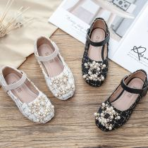 Toddler Girls Jewelry Pearls Soft Soled Girl Flat Dress Shoes