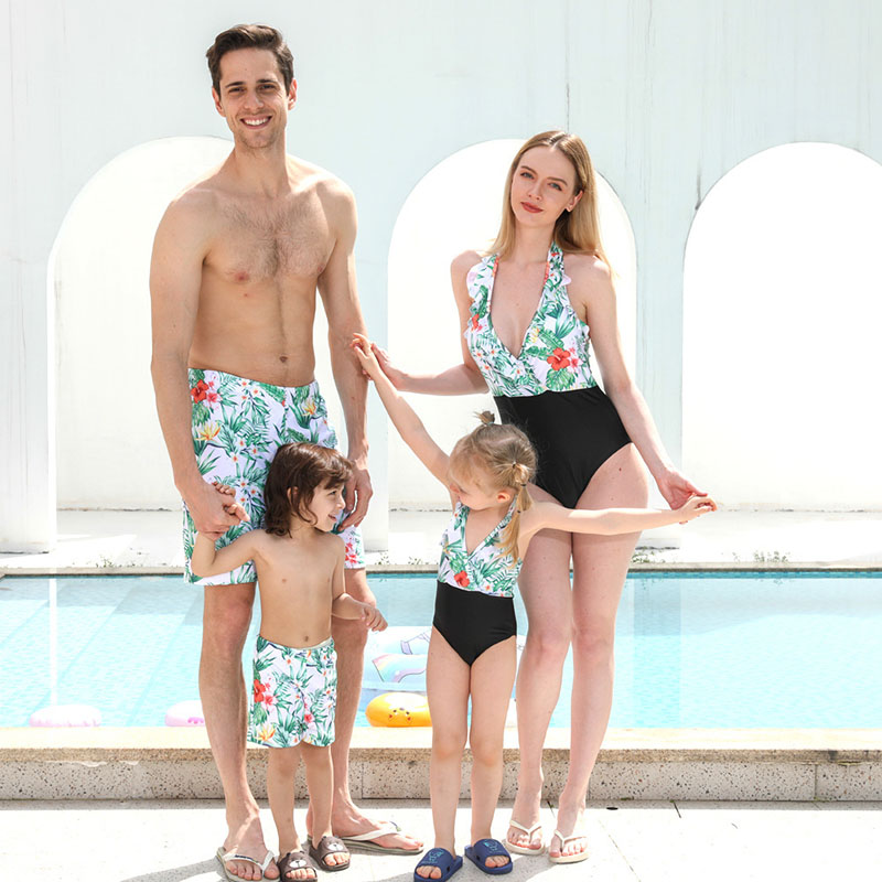 Matching Family Suit Printed Family Parent-Child Swimsuit