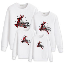Christmas Matching Family White Plaids Deer Snowflake Slogans Sweatshirt Tops