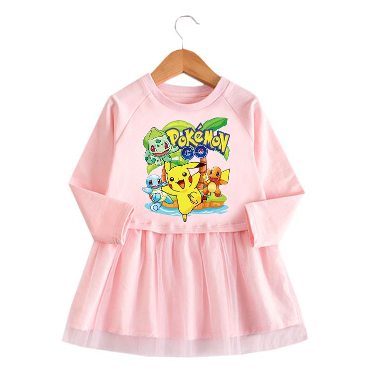 Toddler Girl Yellow Pikachu Princess A-line Long-Sleeved Mesh Dress