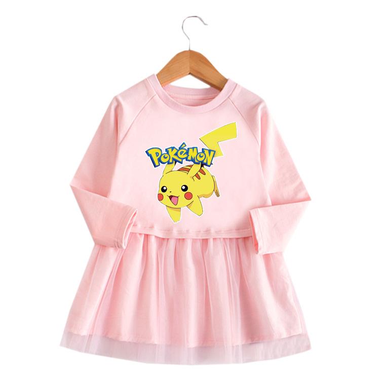 Toddler Girl Fashion Pikachu Princess A-line Long-Sleeved Mesh Dress