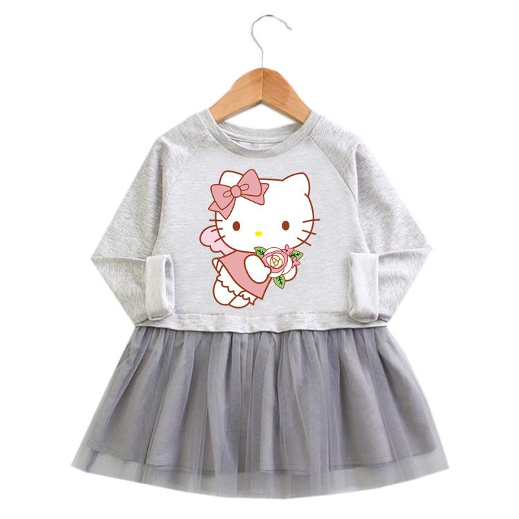 Toddler Girl Flower Hello Kitty Princess A-line Long-Sleeved Mesh Dress