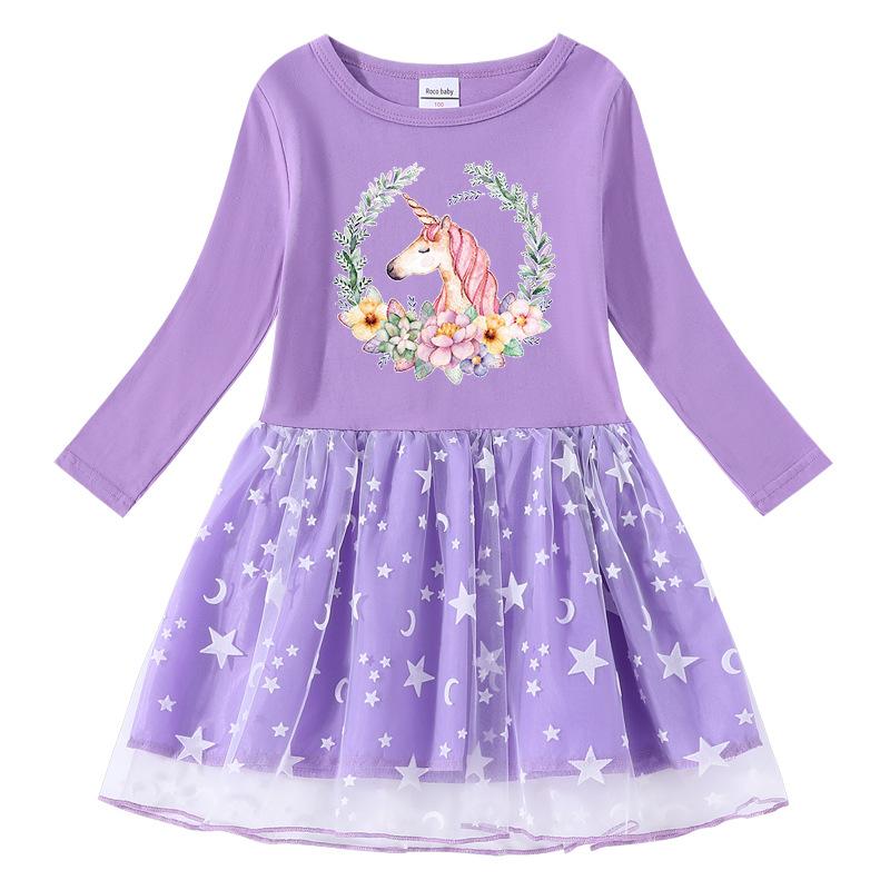 Toddler Girl Flower Unicorn Long Sleeve Tutu Dress