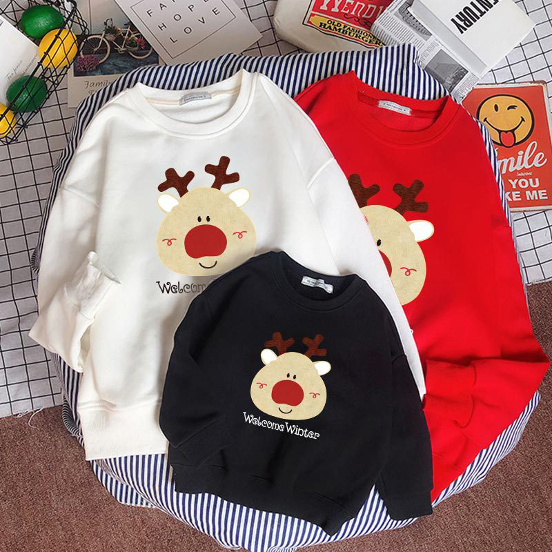 Christmas Matching Family Christmas Cartoon Cute Deer Welcome Winter Christmas Family Sweatshirt Tops