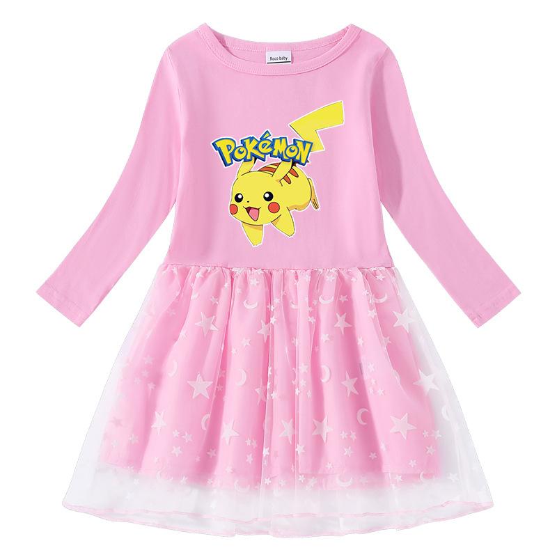 Toddler Girl Pokemon Pikachu Long Sleeve Tutu Dress