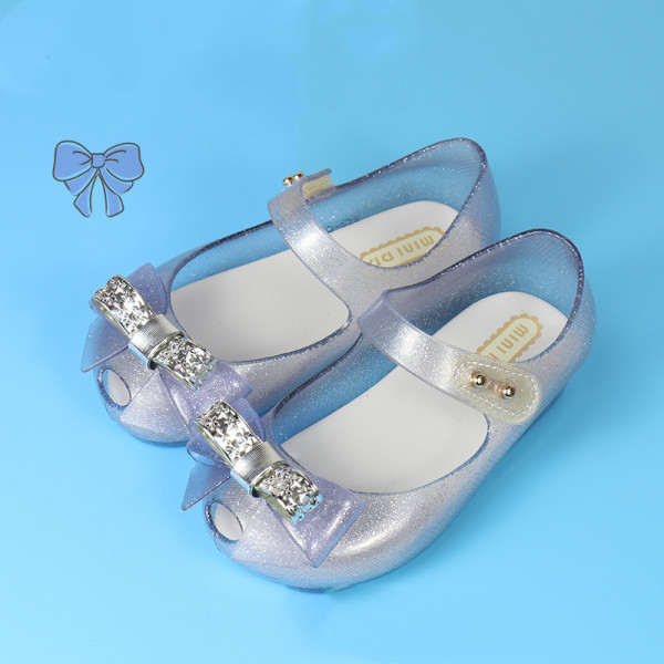 Toddler Girls Bow Flat Soft Jelly Crystal Sandals