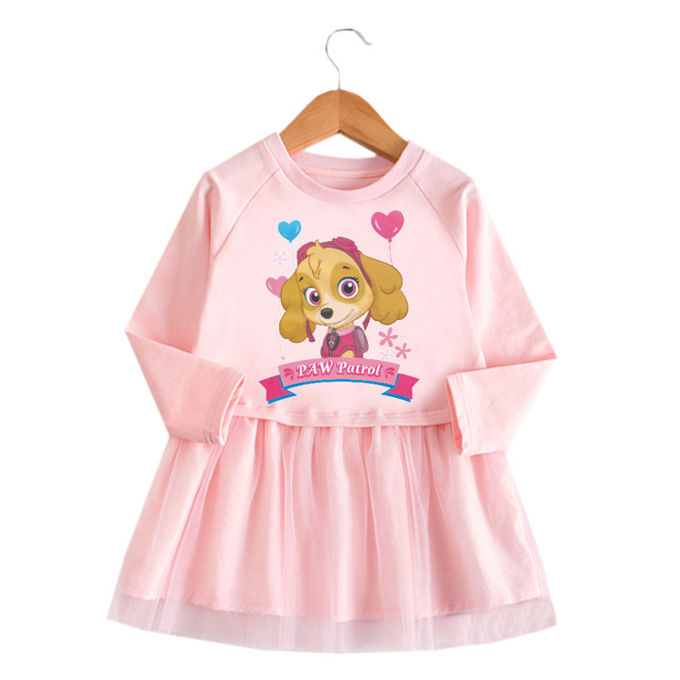 Toddler Girl Puppy Princess A-line Long-Sleeved Mesh Dress