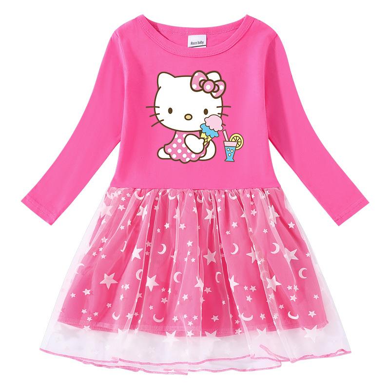 Toddler Girl Ice Cream Juice Hello Kitty Flower Long Sleeve Tutu Dress