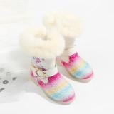 Toddler Kids Girls Rainbow Sequins Winter Warm Snow High Knee Boots Shoes