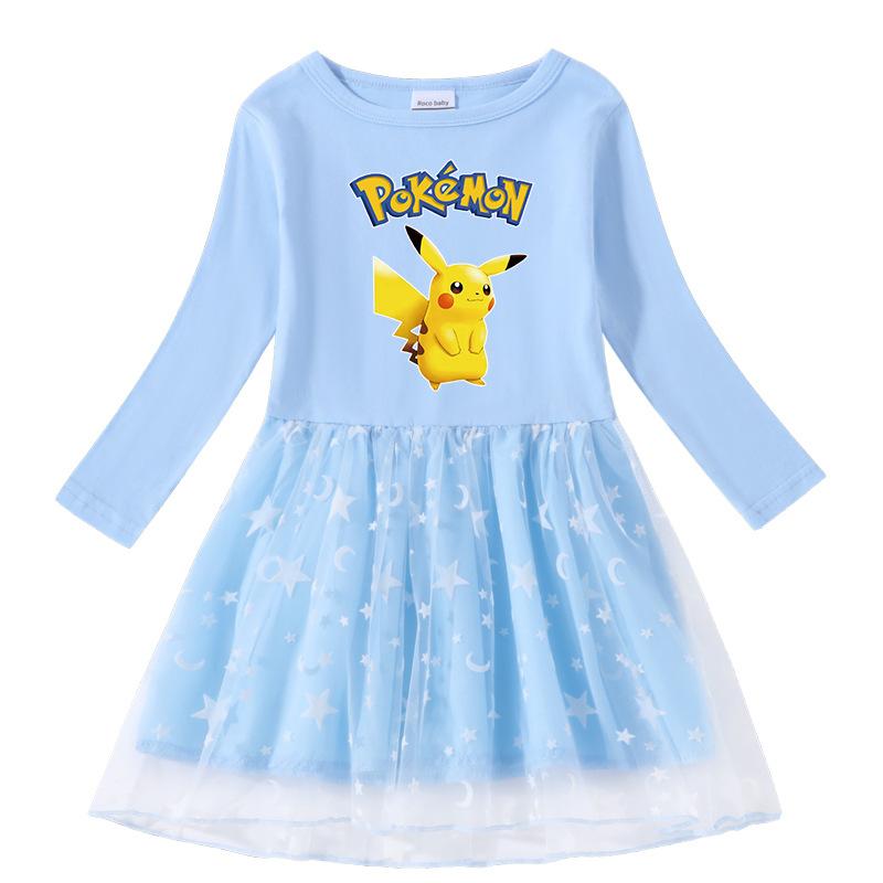 Toddler Girl Cute Pikachu Long Sleeve Princess Dress