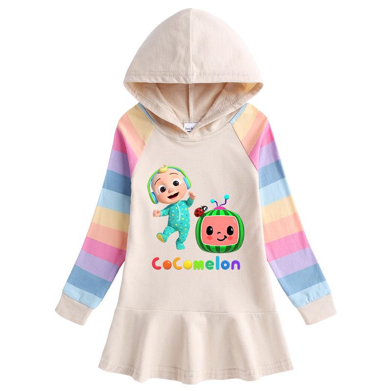 Toddler Girl CoComelon Princess Hoodie Hoodie Cartoon Dress