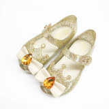 Toddler Girls Diamond Bowknot Crown Flat Crystal Jelly Sandals