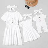 Mommy and Me Mother Daughter Button Decoration Pure Color Dress