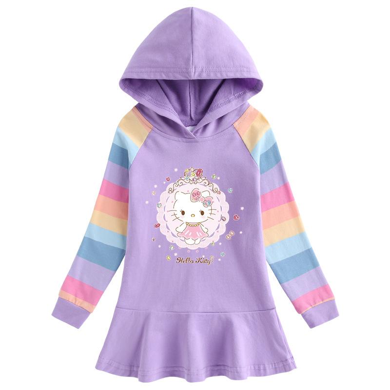 Toddler Girl Hello Kitty Princess Hoodie Hoodie Cartoon Dress