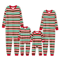 Christmas Family Matching Sleepwear Pajamas Red Green And White Stripes Jumpsuits Sets