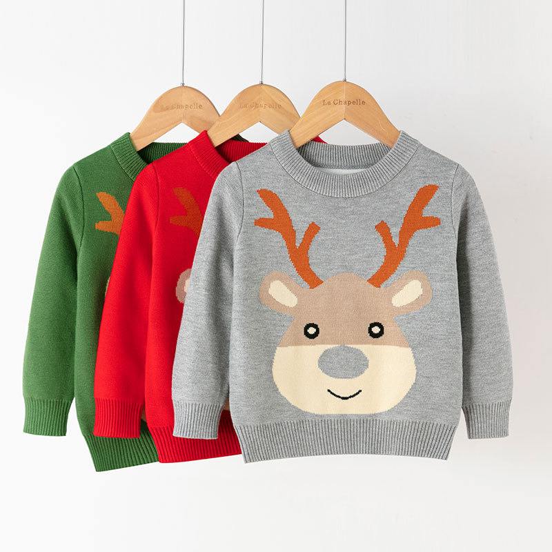 Toddler Kids Christmas Cute Deer Wool Pullover Sweater For Boys and Girls