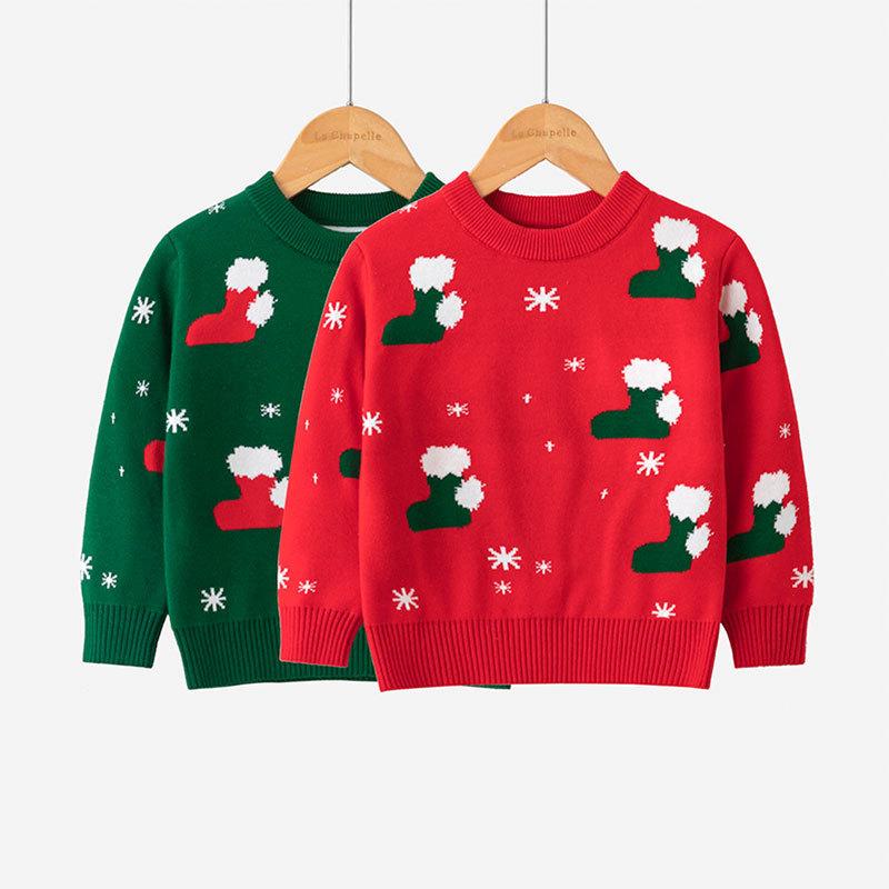 Toddler Girl Christmas Socks Snowflakes Knit Pullover Sweater