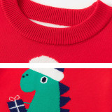 Toddler Kids Cute Christmas Santa Dinosaur Wool Pullover Sweater For Boys and Girls