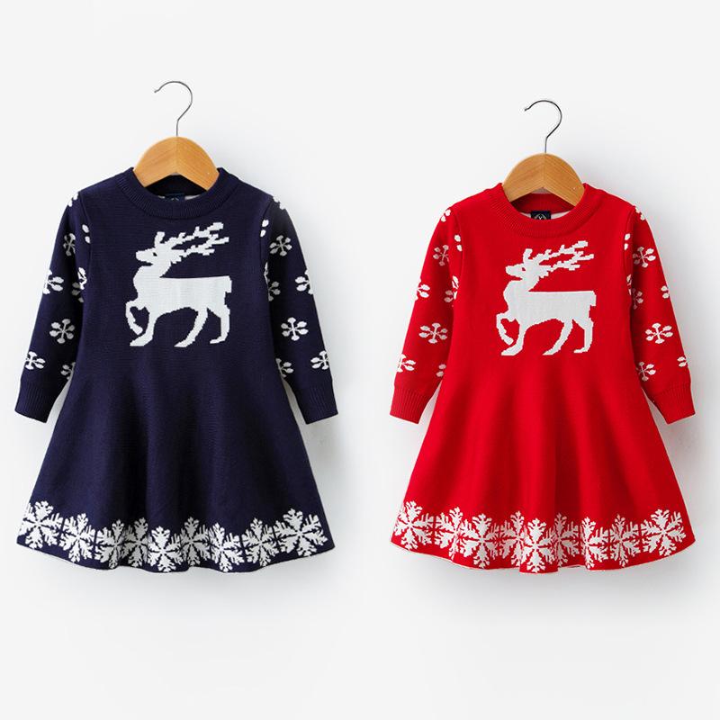 Toddler Kids Girl Christmas Deer Snowflake Cotton Sweater A-line Dress