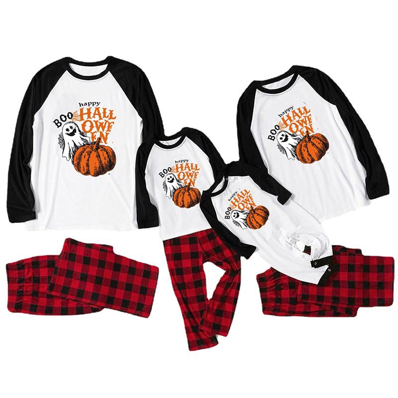 Halloween Family Matching Sleepwear Pajamas Halloween Slogan Pumpkin Ghost Pattern Tops And Plaids Pants
