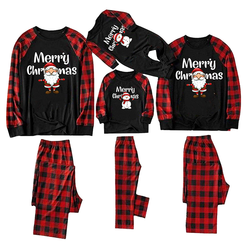 Christmas Family Matching Sleepwear Pajamas Santa And Snowman Slogan Tops And Plaids Pants