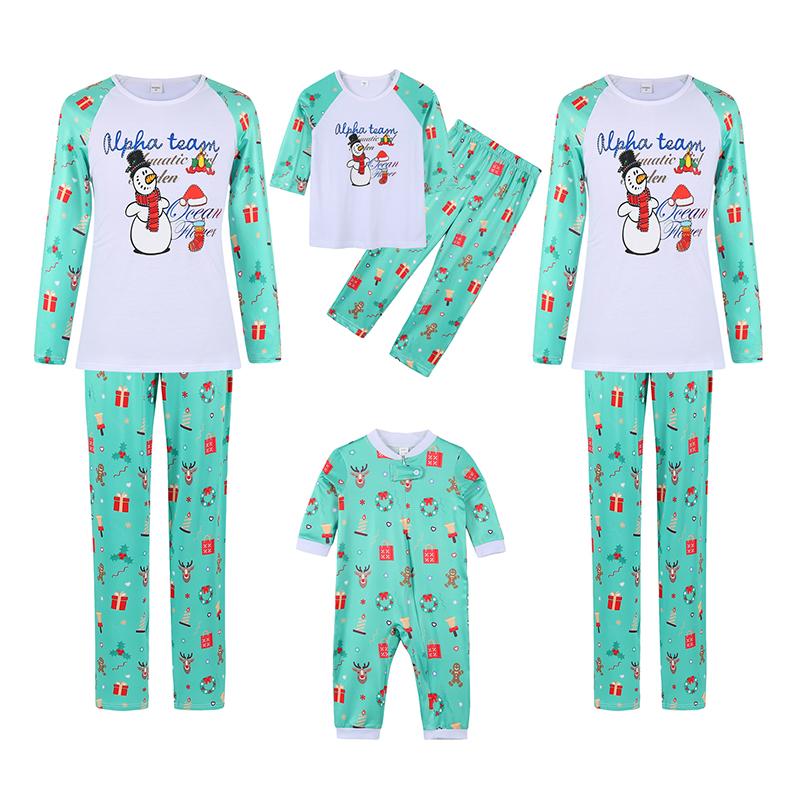 Christmas Family Matching Sleepwear Pajamas Snowman Alpha Team Slogan Tops And Pattern Printing Pants